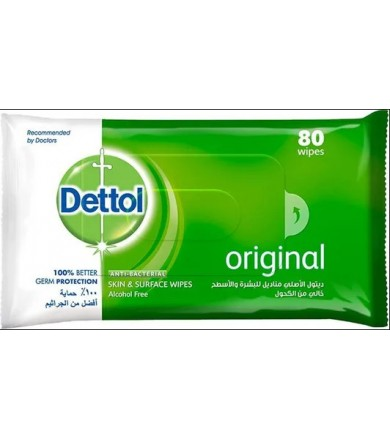 dettol original skin & surface wipes 80 wipes