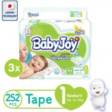 Babyjoy Compressed Diamond pad Diaper Mega Pack Newborn size 1 3x84 count Up to 4 Kg