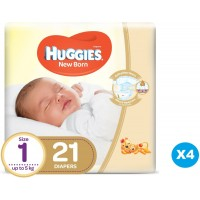 New Born Diapers for Kids by Huggies -Size 1 Signer- up to 5 KG- 4 pack 21