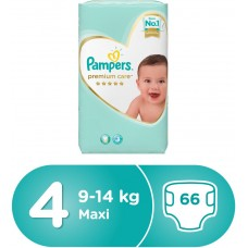 Pampers Premium Care Diapers Size 4 Maxi 9-14 kg Super Saver Pack 66 Count